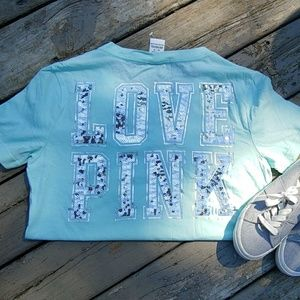 New VS Pink mint bling vneck tshirt